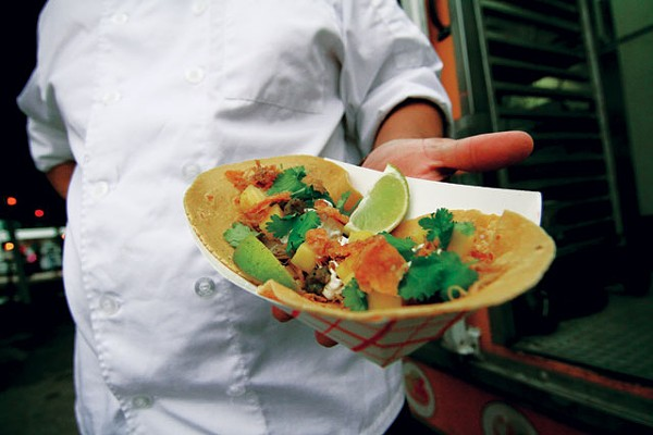 Duck tacos from Jason Dady's DUK Truck - MICHAEL BARAJAS