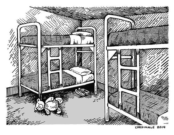 This illustration shows a description of the Karnes County immigration facility. A federal investigation declared allegations of sexual abuse are unfounded. - CHRISTOPHER CARDINALE