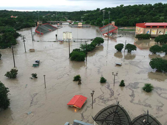 Flood waters north of downtown Austin. - VIA TWITTER USER @SIRDUKEOFTEXAS