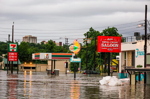 Flooding in Austin along Lamar Street. - VIA TWITTER USER @SIRDUKEOFTEXAS
