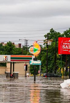 Flooding in Austin along Lamar Street.
