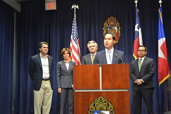 Former Mayor Julian Castro announces San Antonio as one of the cities being considered for a Google Fiber network on February 19, 2014 - MARY TUMA