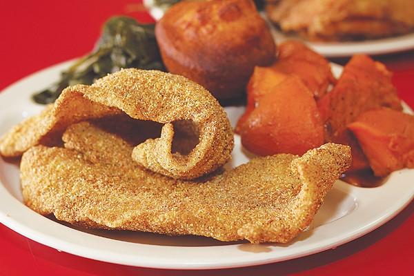 Fried catfish, yams, collard greens, and cornbread from Mama Lee's Soul Food