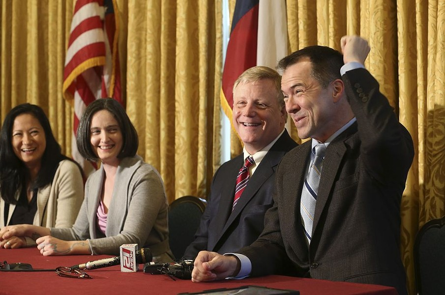 From left: from left, Cleopatra De Leon, Nicole Dimetman, Mark Phariss and Victor. The two same-sex couples are challenging Texas' same-sex marriage ban. - COURTESY