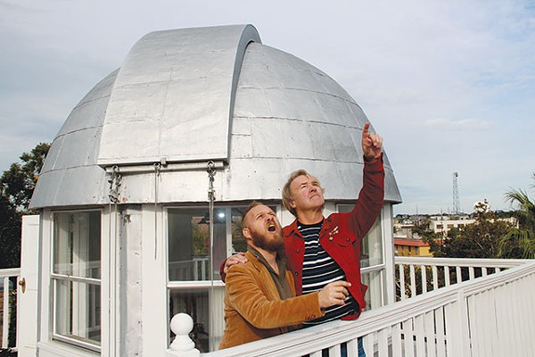 Gary Sweeney teaches Chris Sauter a thing or two at the Maverick-Carter House observatory - COURTESY PHOTO