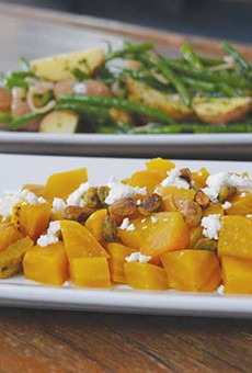 Golden beets, potatoes and green beans