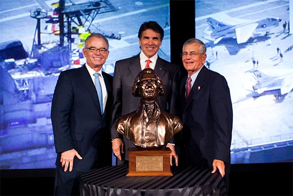 Gov. Rick Perry being awarded the American Legislative Exchange Council's (ALEC) Thomas Jefferson Freedom Award at the group's 2010 Annual Meeting