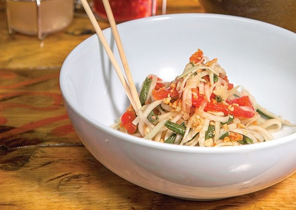 Green papaya salad from Tuk Tuk Tap Room - CASEY HOWELL/SA CURRENT