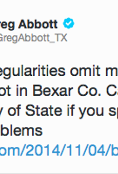 Greg Abbott Tweets That His Name Is Left Off Bexar County Ballot