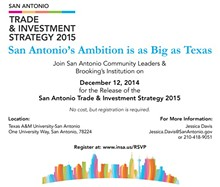 INSA, SAN ANTONIO, GLOBAL CITIES INITIATIVE - inSA Trade & Investment Strategy 2015 Release