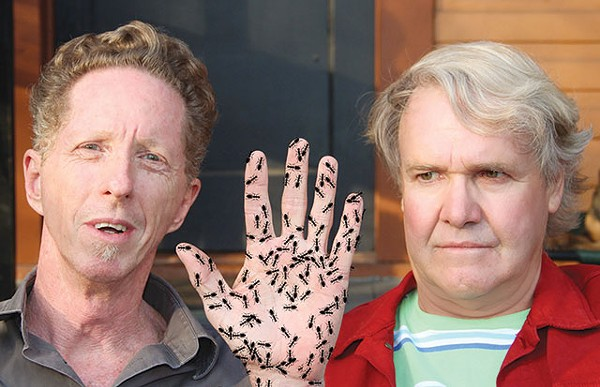 """James Cobb """"with ants"""" (left) and a very uncomfortable Gary Sweeney - COURTESY PHOTO"""