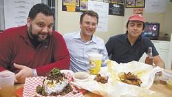 Jesse Mata, Fabien Jacob, and Carlos Montoya at Pollo Regio.
