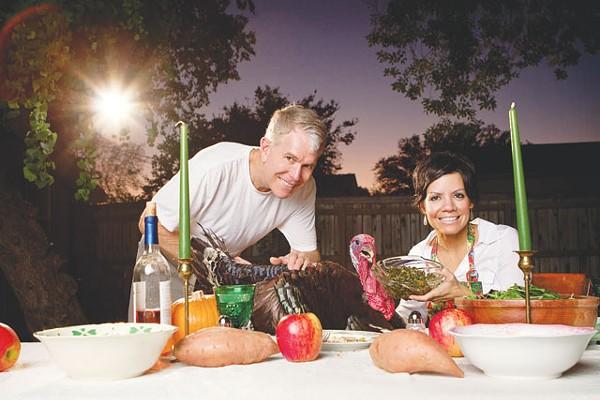 Joel Hailey and Avery Saenz share a holiday feast with Jadon, recently liberated turkey. - JOSH HUSKIN