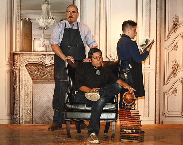 Jorel (standing) and Jeret Peña and Joseph Hernandez head back Downtown with The Last Word - CASEY HOWELL