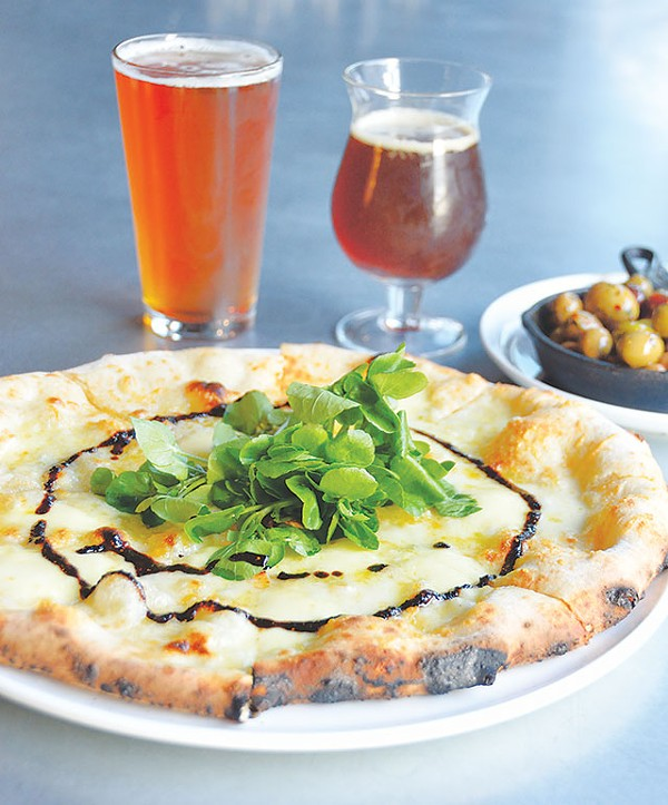 Lagunitas Fusion 12 IPA, Buried Hatchet Stout, olives, and Quattro pizza - SCOTT ANDREWS