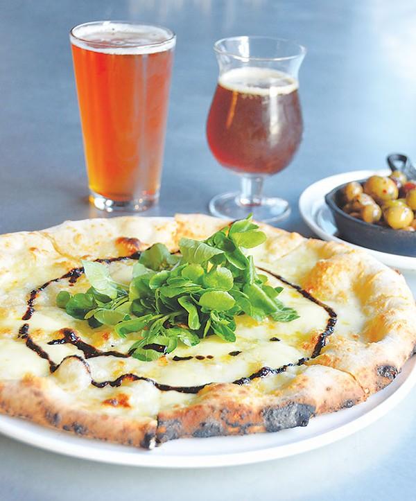 Lagunitas Fusion 12 IPA, Buried Hatchet Stout, olives, and Quattro pizza - SCOTT ANDREWS