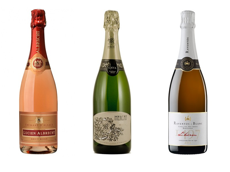 Left to right: Albert Bichot Crémant de Bourgogne Brut Rosé, Mercat Brut and the 2011 Raventós i Blanc L'hereu - COURTESY