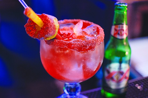 Like Chamoy in your drinks? This still-unnamed michelada-esque is one of two new concoctions offered at My Friend's Backyard. - JAIME MONZON
