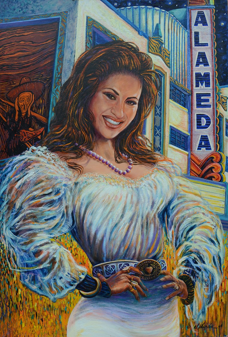 Local artist Gilbert Duran's painting of Selena in front of the Alameda Theater on Houston Street. - BRYAN RINDFUSS