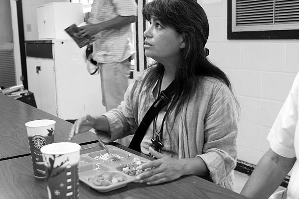 Lorenza Andrade-Smith at the Good Neighbor Settlement House in Brownsville on her trek along the U.S./Mexico border last month. - MICHAEL BARAJAS