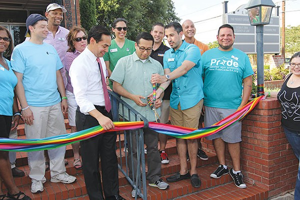 Mayor Julián Castro, Councilman Diego Bernal and Pride Center board chair Richard Farias joined Equality Texas field organizer Robert Salcido and others to cut the ribbon at the New PRIDE Center office in June.