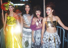 Models in designs by Avi Avalos and T.J. Fashionistas (far left)