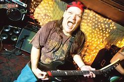Monkeysoop guitarist Jerry Connor at Rock Bottom Tattoo Bar.