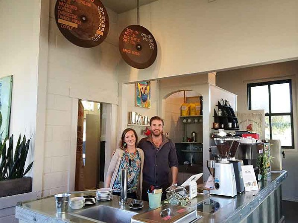 Natalie Nazarewicz and Bronson Holbrook inside Press Coffee - JESSICA ELIZARRARAS