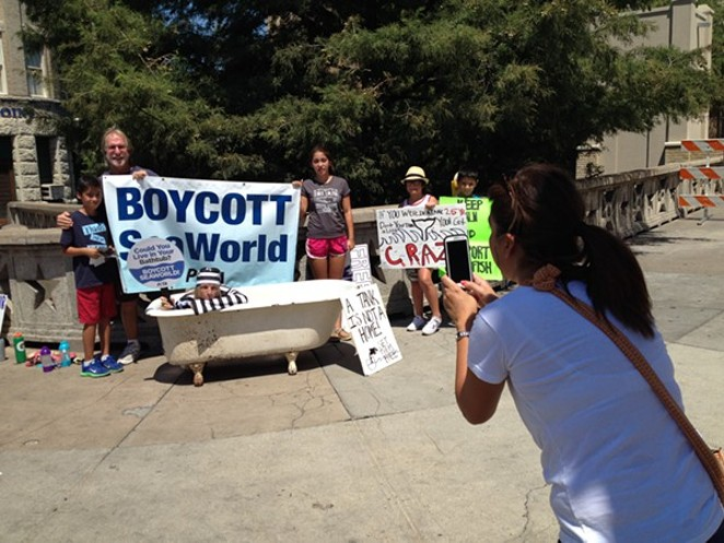 PETA protests against Sea World last summer in downtown San Antonio. - PEOPLE FOR THE ETHICAL TREATMENT OF ANIMALS.