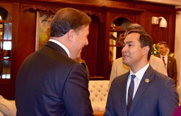 Congressman Joaquin Castro of SA met Panamanian President Juan Carlos Varela at the Summit of the Americas. - JOAQUIN CASTRO