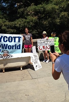 PETA protests against Sea World last summer in downtown San Antonio.
