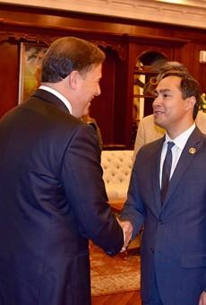 Congressman Joaquin Castro of SA met Panamanian President Juan Carlos Varela at the Summit of the Americas.
