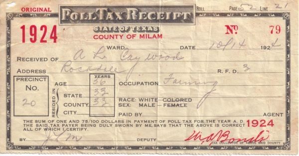 Here's a photo of a poll tax receipt. Critics of Texas' Voter ID law say it amounts to a poll tax. - MILAM COUNTY HISTORICAL COMMISSION