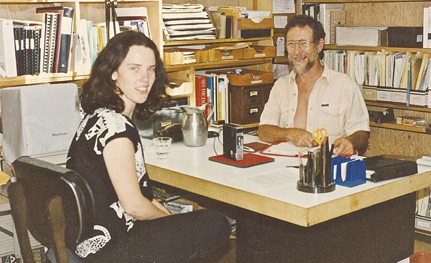Julia Martin and Gary Snyder at Kitkitdizze in 1988. - CAROLE KODA