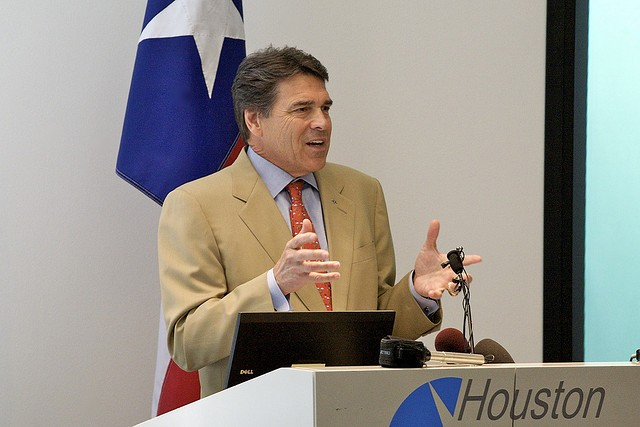 Former Gov. Rick Perry speaking in Houston in 2009. Perry will announce his second bid for president next month. - VIA FLICKR USER ED SCHIPUL