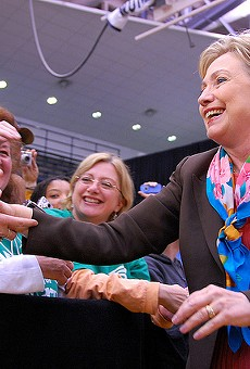 Hillary Clinton works the crowd during a 2008 campaign stop.