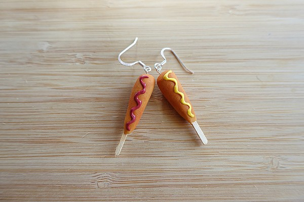 Polymer corn dog earrings ... Not tasty, but a fashion statement. - COURTESY