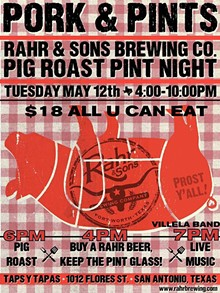Pork & Pint Night Tuesday May 12 @ Taps y Tapas