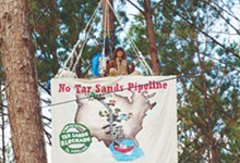 Protester sits in the trees above the Keystone XL pipeline construction outside Wells, Texas.