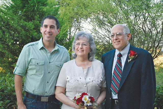 Richard Farias, left, with parents Mary Helen and George at their 50th anniversary party - COURTESY PHOTO