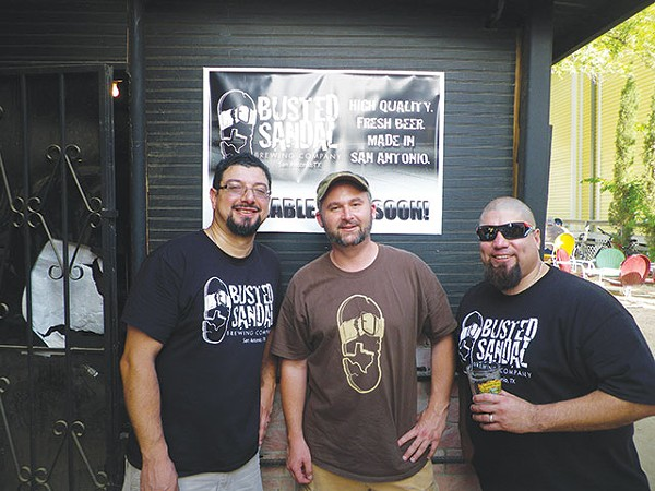 Robert Garza (left) and Michael DiCicco (center) and friend celebrating their first mash at Busted Sandal - COURTESY PHOTO
