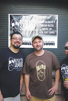 Robert Garza (left) and Michael DiCicco (center) and friend celebrating their first mash at Busted Sandal