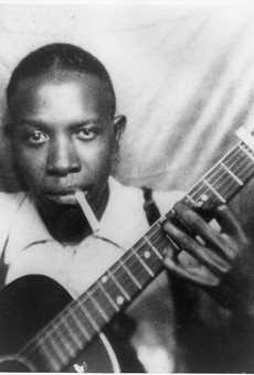 Robert Johnson in the early '30s, in one of the only two verified photographs of him.