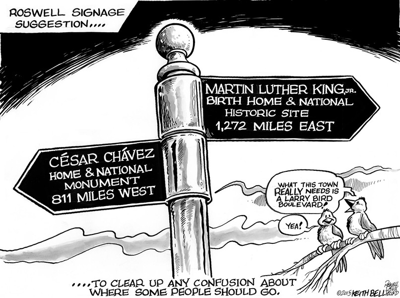 An editorial cartoon published by the Roswell Daily Record questions the merit of naming local street names after national civil rights figures. - ROSEWELL DAILY RECORD/FACEBOOK