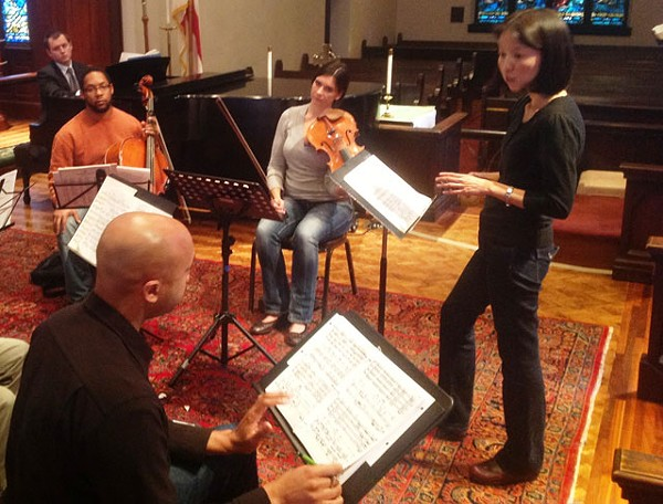 San Antonio Symphony assistant director Akiko Fujimoto and ensemble in rehearsal - PHOTO COURTESY OF JOHN CLEAR