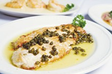 PHOTOS BY JOSH HUSKIN - Selections from Piccolo's Italian Restaurant: Snapper Meuniere