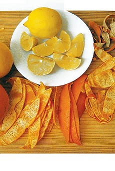 Seville orange, Meyer lemon, lemon, and dried orange peels.