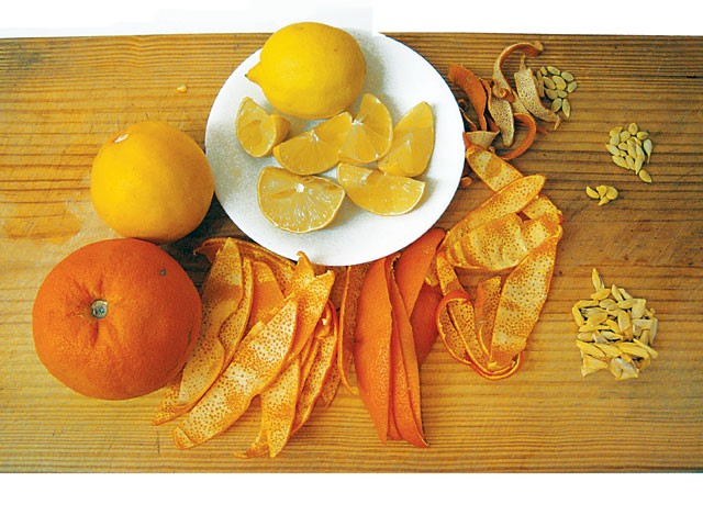 Seville orange, Meyer lemon, lemon, and dried orange peels. - COURTESY PHOTO