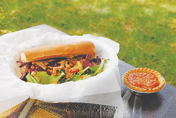 Shrimp po'boy with house salad and mini sweet potato pie - MIRIAM SITZ