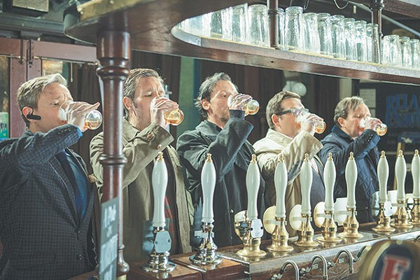 Simon Pegg (center) stars in one of the better beer-soaked comedies we've seen, 'The World's End' - COURTESY PHOTO